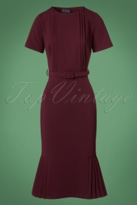 Collectif Clothing Camille Pencil Dress in Wine 22115 20170614 0003W