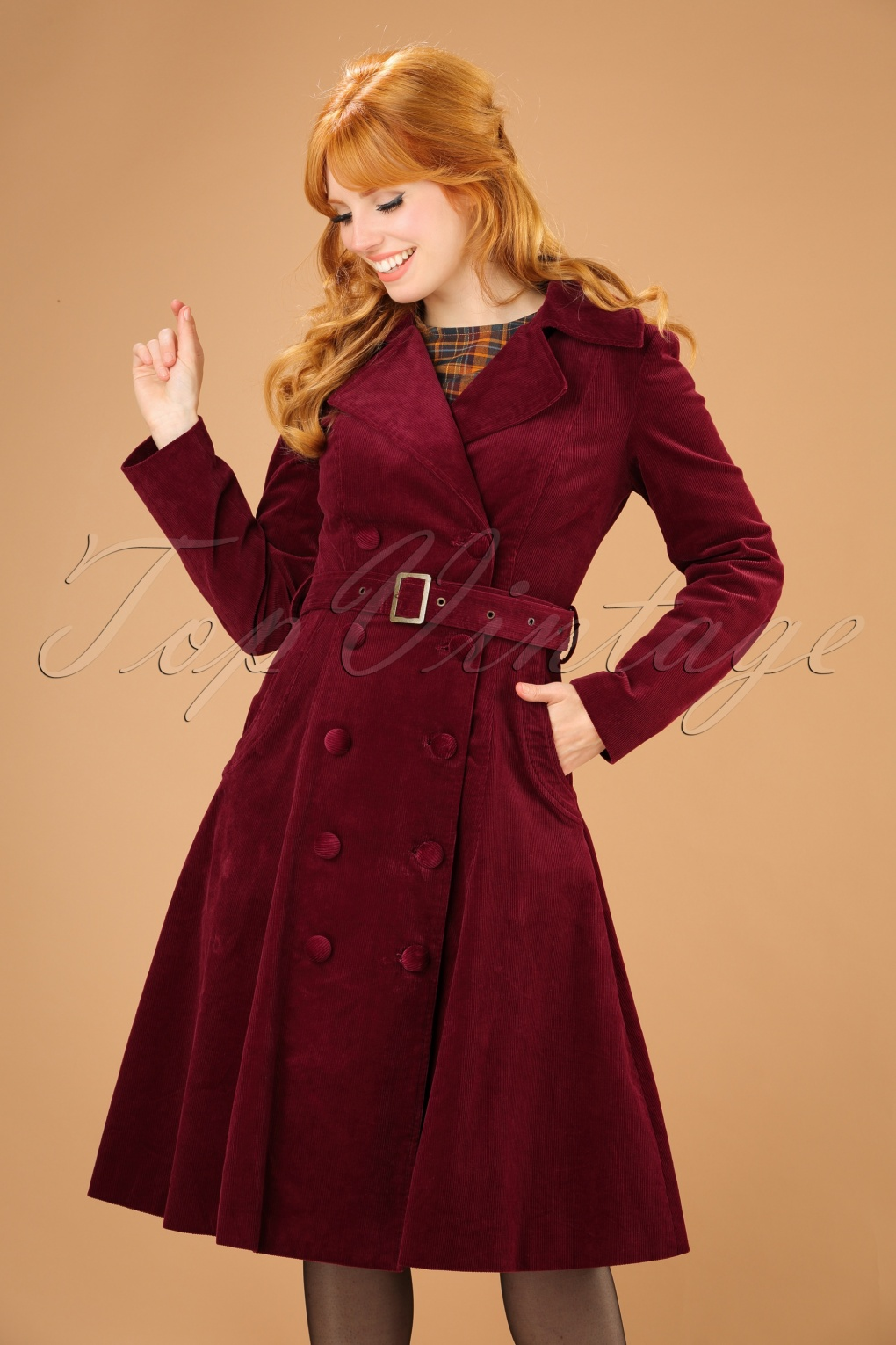 1960s Inspired Fashion: Recreate the Look 70s Sage Cord Coat in Burgundy £138.81 AT vintagedancer.com