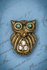 20s Small Night Owl Brooch in Gold