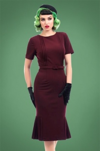 Collectif Clothing Camille Pencil Dress in Wine 22115 20170614 0012