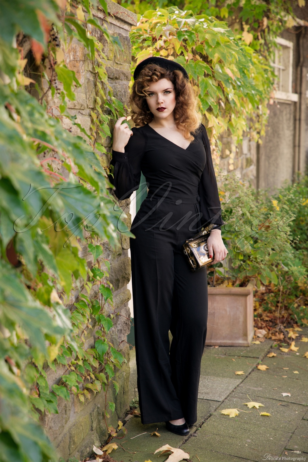 Vintage Overalls 1910s -1950s Pictures and History 40s Rosemary Jumpsuit in Black £62.66 AT vintagedancer.com
