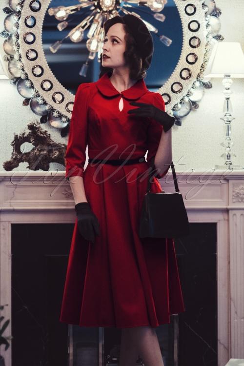 Paula Walks Hearts & Roses 50s Florence Velvet Swing Dress 17661 20161215 0023w