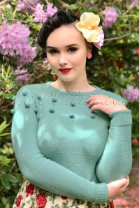 Collectif Clothing Barbara Pom Pom Jumper in Green 21772 20170607 0009w