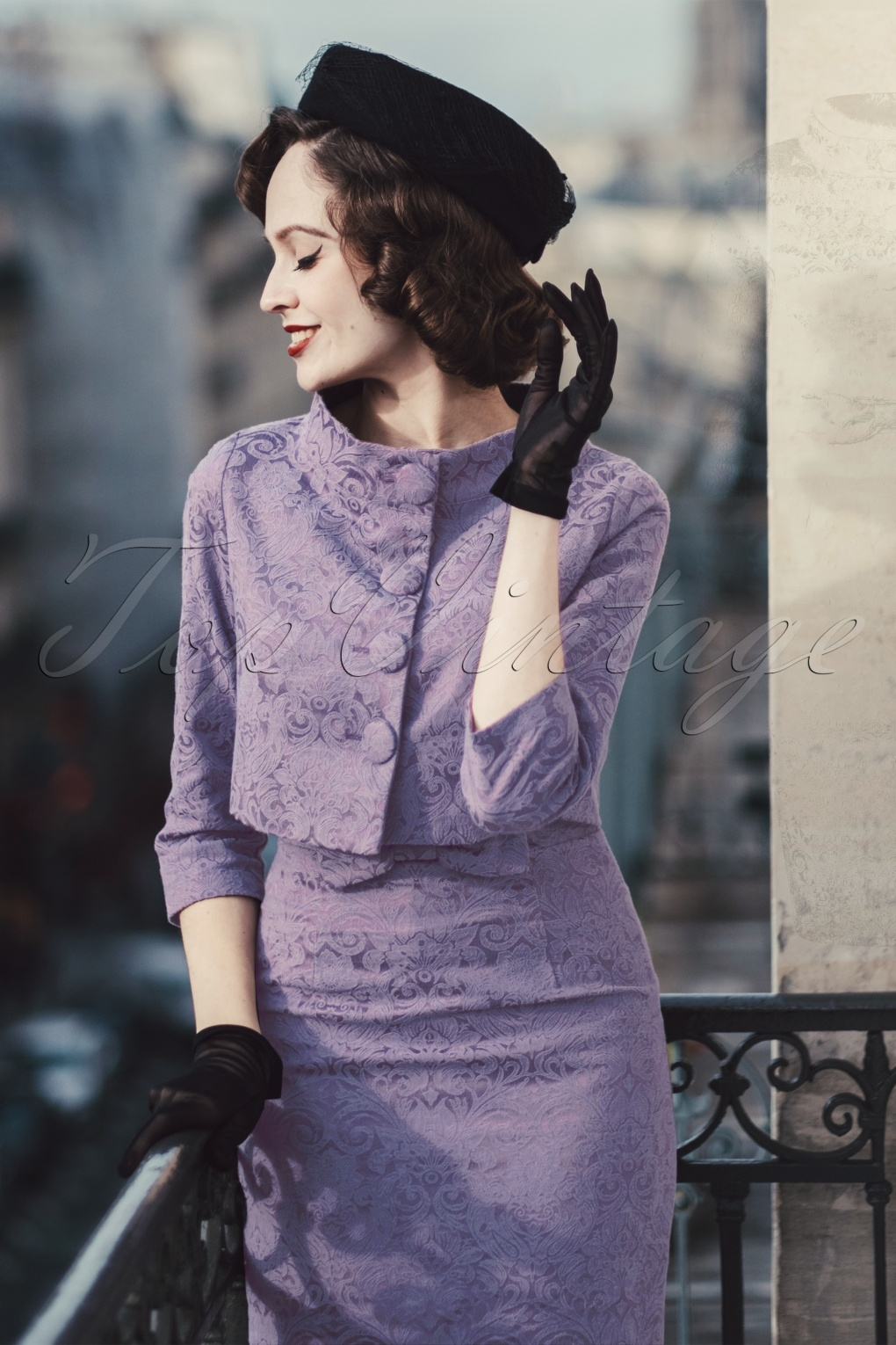 500 Vintage Style Dresses for Sale 60s Maybelle Jacquard Twin Set in Amethyst £74.18 AT vintagedancer.com