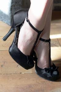 Pinup Couture 40s Cutiepie T Strap D'Orsay Black Satin platform pumps 22 2738w