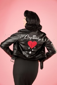 50s Kim Cry Baby Biker Jacket in Black