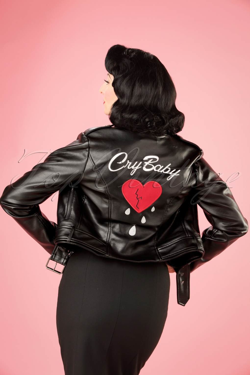 1950s Jackets and Coats | Swing, Pin Up, Rockabilly 50s Kim Cry Baby Biker Jacket in Black £119.54 AT vintagedancer.com