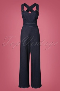 Collectif Clothing Karla Heart Dungarees in Navy 21710 20170615 0012W