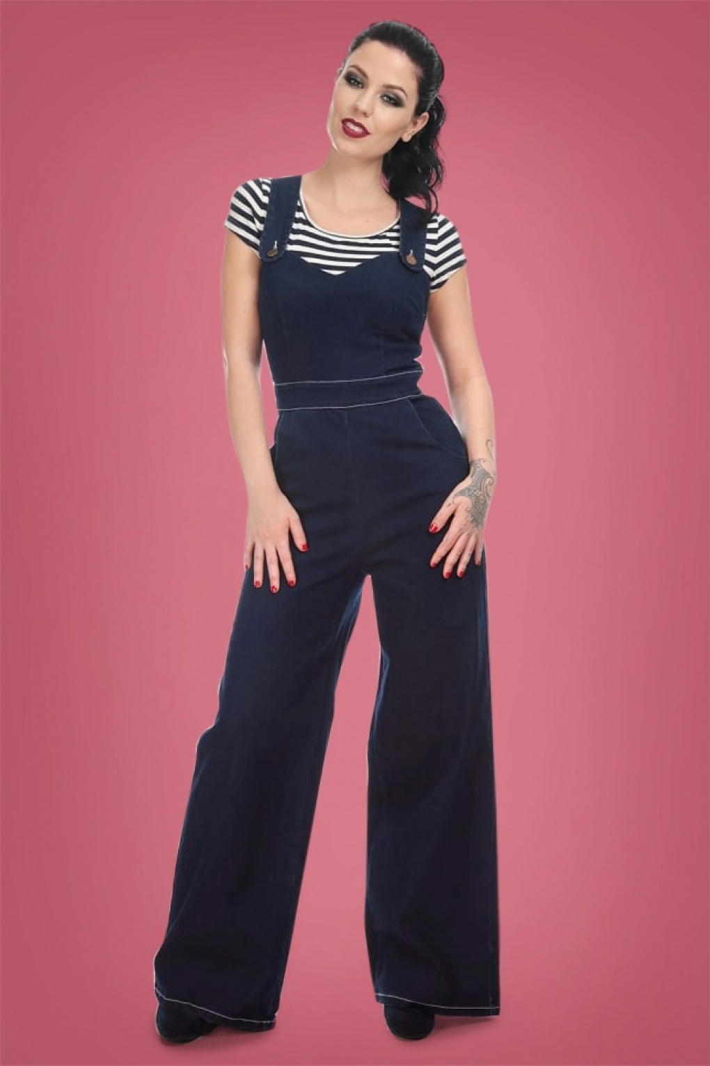 Vintage Overalls 1910s -1950s Pictures and History 50s Karla Heart Dungarees in Navy £71.62 AT vintagedancer.com