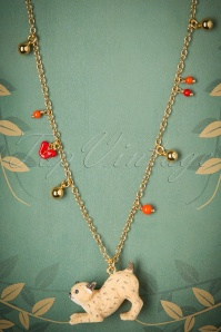 50s Little Lynx and Charms Necklace Gold Plated