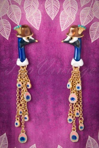 50s Face of Léon the Peacock Gold Plated Earrings