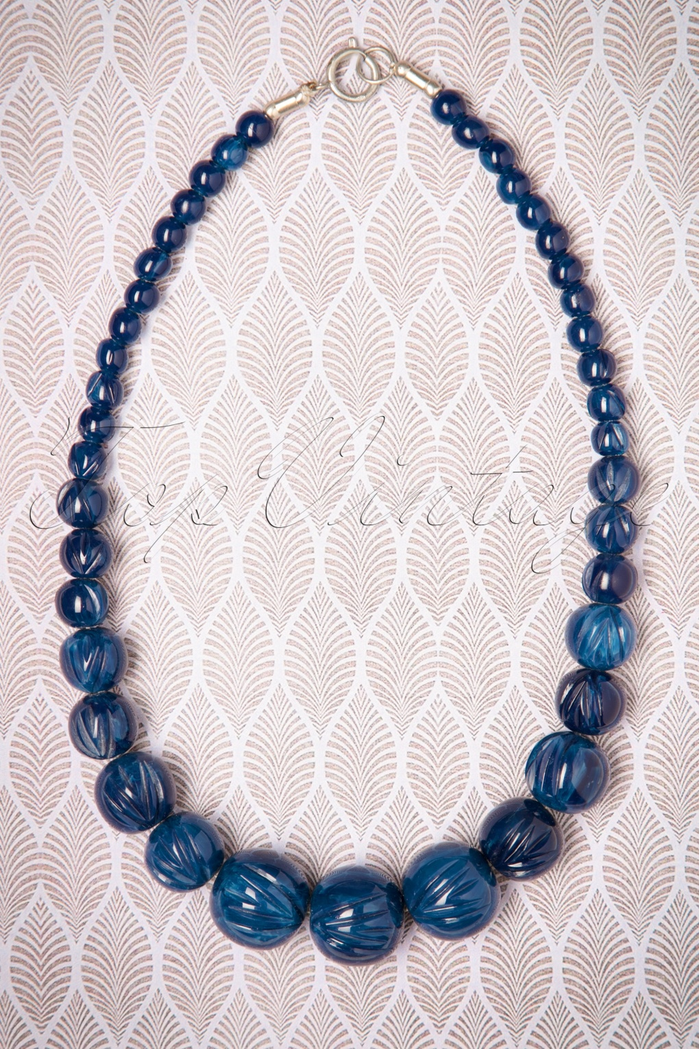 1930s Costume Jewelry TopVintage Exclusive  20s Luna Carved Pearl Necklace in Navy £11.64 AT vintagedancer.com
