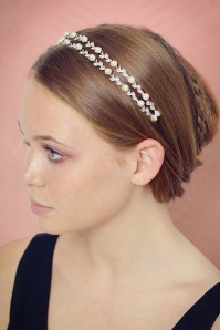 40s Sparkles and Pearls Hairband in Silver
