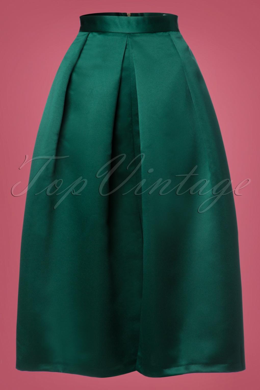 50s Shirley Pleated Midi Skirt In Green