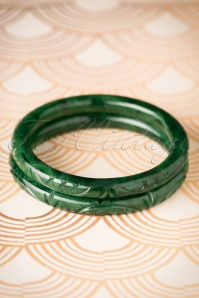 TopVintage Exclusive ~ 20s Maureen Carved Bangles Set in Deep Green
