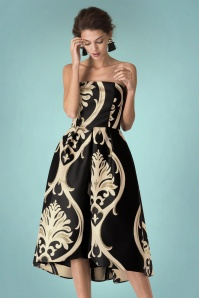 50s Metallic Baroque Bandeau Dress in Black
