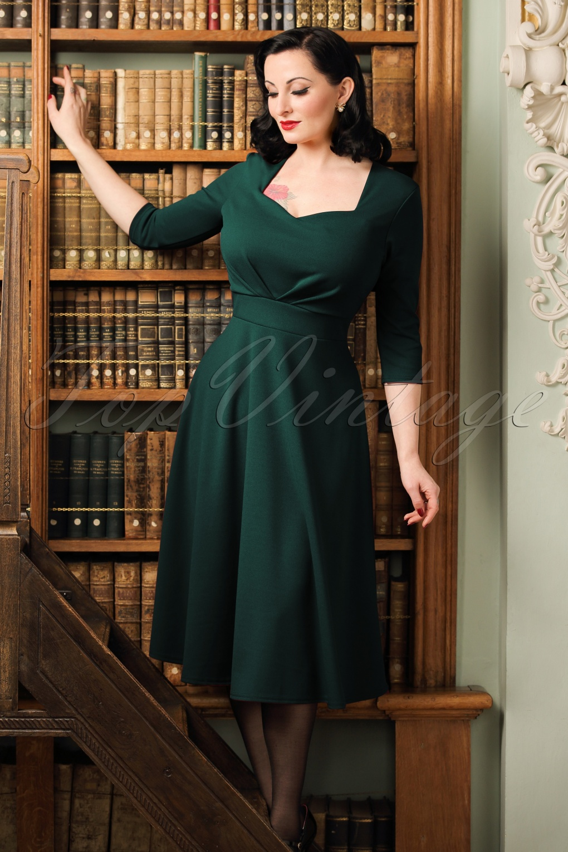 Vintage Cocktail Dresses, Party Dresses, Prom Dresses 50s Ruby Swing Dress in Forest Green £49.23 AT vintagedancer.com