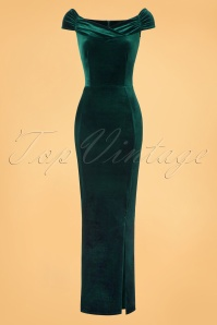 50s Beverly Velvet Maxi Dress in Green
