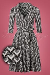 50s Gloria Wrap Dress in Black and White
