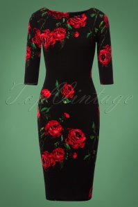 Vintage Chic Waterfall Roses Pencil Dress 100 14 23925 20171114 0001W