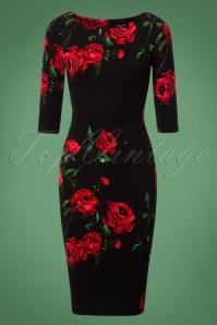 50s Wendie Roses Pencil Dress in Black