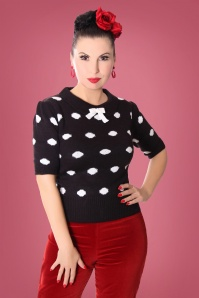 SugarShock Gina Polkadot Black Top 113 14 22170 1