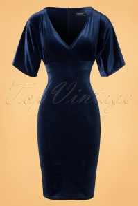 50s Viva Velvet Cross Pencil Dress in Navy