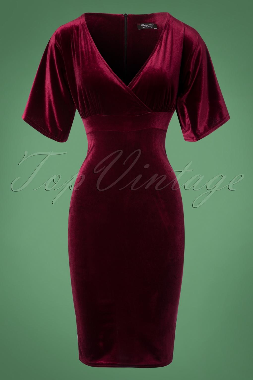 Vintage Cocktail Dresses, Party Dresses, Prom Dresses 50s Viva Velvet Cross Pencil Dress in Claret £49.41 AT vintagedancer.com
