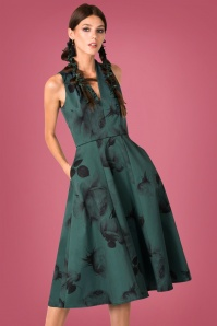 50s High Low Lines Dress in Dark Green