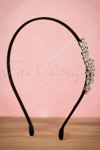 20s Mildred Leaves Hairband in Black and Silver