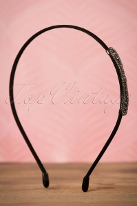 20s Elaine Bow Hairband in Black and Silver