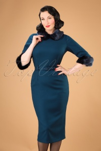 Collectif Clothing Christiane Faux Fur Trim Pencil Dress in Blue 21994 20170612 0021W