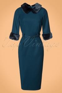 Collectif Clothing Christiane Faux Fur Trim Pencil Dress in Blue 21994 20170612 0005W