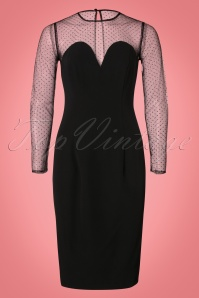50s Morticia Polkadot Pencil Dress in Black