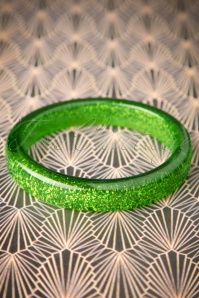 Splendette TopVintage Exclusive ~ 20s Fedora Midi Glitter Bangle in Leaf Green