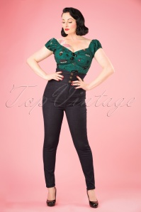 Collectif Clothing Nomi Plain High Waisted Jeans in Black 21962 20170606 0012