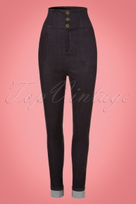Collectif Clothing Nomi Plain High Waisted Jeans in Black 21962 20170606 0002W