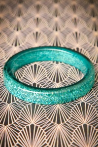 TopVintage Exclusive ~ 20s Fedora Midi Glitter Bangle in Teal