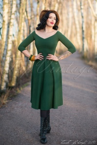 50s Patsy Swing Dress in Vintage Green