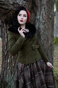 Collectif Clothing 40s Molly Jacket in Olive Green