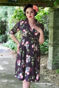 50s Marietta Swing Dress in Purple