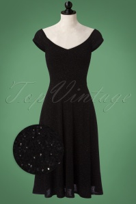 50s Alma Short Sleeve Swing Dress in Black Glitter