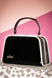 50s Patent Glitter Box Handbag in Black