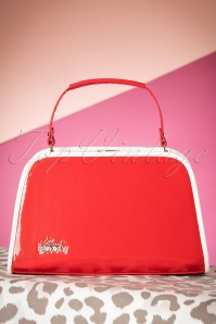 50s Patent Glitter Box Handbag in Red