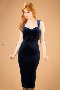 Collectif Clothing Andromeda Velvet Pencil Dress in Navy 21996 20170614 0012w