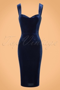 Collectif Clothing Andromeda Velvet Pencil Dress in Navy 21996 20170614 0004w