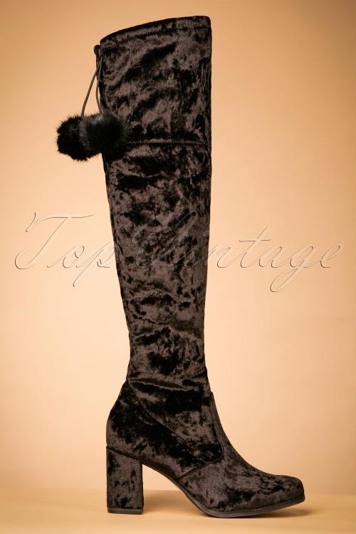 7a66315bba88 70s Veronica Knee Height Velvet Boots in Black