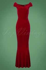 Vintage Chic Red Velvet Fishtail Dress 108 20 22464 20171120 0001W