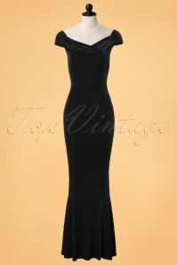 Vintage Chic Black Velvet Fishtail Dress 108 20 22463 20171120 0001pop