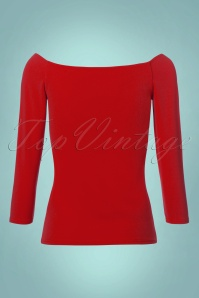 Vintage Chic Scuba Crepe Top Long Sleeve in Red 113 80 22756 20171120 0006W